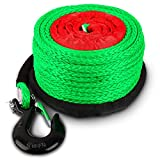 STEGODON 3/8' x 100ft Synthetic Winch Rope 23,809lbs Dyneema Winch Cable Line with Hook and Sleeve Protection Car Tow Recovery Cable for 4WD Off Road Vehicle Truck SUV Jeep(Green)