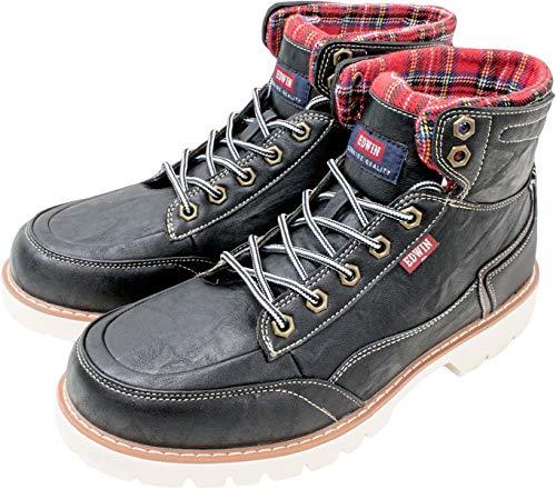 [エドウィン] スニーカー ブーツ ハイカット 防水 防滑 メンズ レディース レインブーツ 厚底 edm8500 (25.5 ブラック
