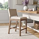 Nathan James 21501 Linus Modern Upholstered Counter Height Bar Stool with Back and Solid Rubberwood Legs in a Wire-Brushed Gray Finish, Natural Flax/Brown