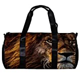 Bolsa de deporte redonda para gimnasio con correa de hombro desmontable King of the forest Lion Training Bag para mujeres y hombres