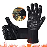 BBQ Gloves,Oven Gloves1472℉ Extreme Heat Resistant, Food Grade Kitchen Grill Gloves, Silicone...
