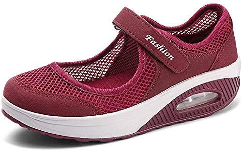 Sandalias para Mujer Malla Merceditas Plataforma Ligero Zapatillas Sneaker Mary Jane Casual Zapatos de Deporte Mocasines Negros Verano A-Rojo-2 EU40