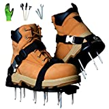 Earthgears Lawn Aerator Shoe [2020 Upgrade] Fully Assembled E-Z Fit Single Click-Buckle Strap, with Heel Support, Larger Spikes, Thicker Sole.+ Bonus - Bamboo Gloves, 3 Shovels, Extra Spikes, Manual