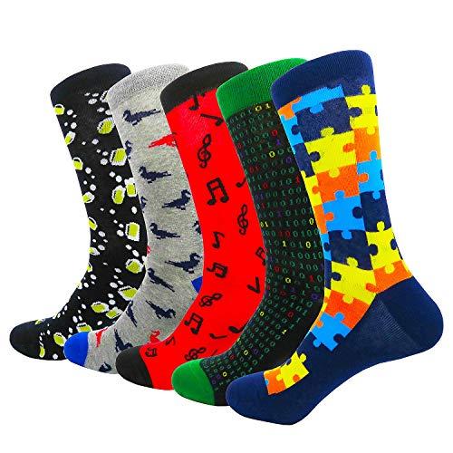 HIWEAR Abito da Uomo Colorato Divertente Design Comfort Combed Cotton Crew Socks Pack (Design-mix3)