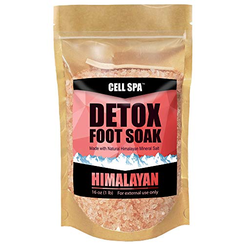 Cell Spa Detox Foot Soak Bath Premium 16 Ounce Natural Pink Himalayan Salt to Help Detox, Relax, Relieve Stress, Eliminate Odors & Soften Your Feet