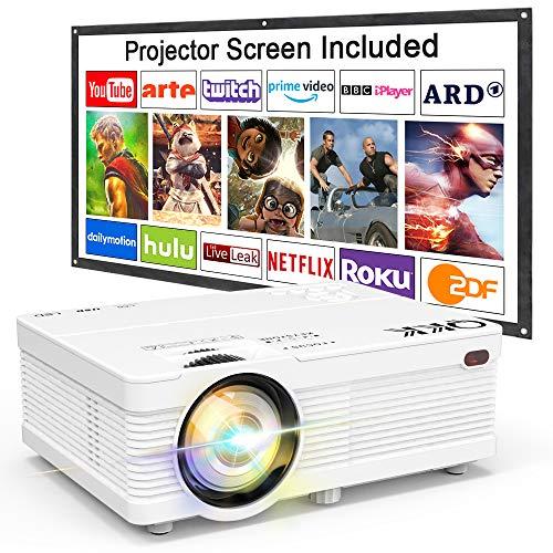 QKK Beamer 4500 Lumens unterstützt 1080P Full HD, Video Projektor mit Screen, Mini Video Beamer Kompatibel mit TV Stick, PS4, HDMI, VGA, SD, AV und USB, Heimkino Projektor, Weiß, MEHRWEG.