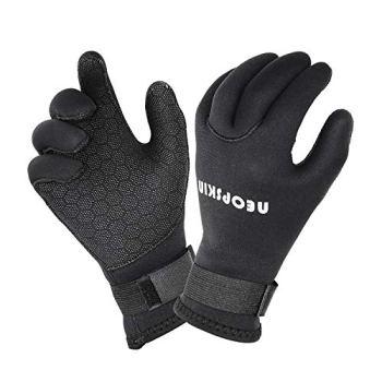 NeopSkin Water Gloves, 3mm & 5mm Neoprene Five Finger Warm Wetsuit Winter Gloves for Scuba Diving Snorkeling Paddling Surfing Kayaking Canoeing Spearfishing Skiing (3mm-Black, 2XL)