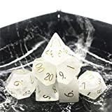Momostar Set of 7 Stone Dice for RPG,Dungeons & Dragons Dices Handmade by Natural Gemstones. (Font A...
