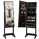 SONGMICS Mirrored Jewelery Cabinet Armoire, Free Standing Full Body Larger Mirror Jewelry Organizer Lockable, Narrow Bezel, Brown UJJC69BR