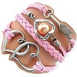 Handmade Heart to Heart Arrow Charm Friendship Gift - Braid Suede Personalized Leather Bracelet