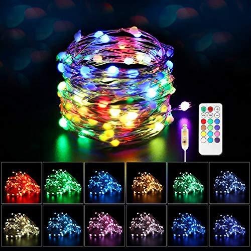 Maxsure Guirnalda Luces USB Multicolor, 10 Metros, 100 Leds, Luces de Hadas USB con Control Remoto, 8 Modos, 12 Colores, Decoración para Navidad, Fiestas, Día de los Reyes Magos etc. IP44 Impermeable