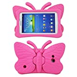 Tading Kids Case for Samsung Galaxy Tab 4/3/3 Lite 7.0 inch Tablet, Lightweight Shockproof EVA Foam Super Protection Stand Cover for SM T230 P3200 T110 (Not Fit Samsung Galaxy Tab 3/4 10.1') –Hot Pink
