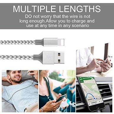 MFi-Certified-iPhone-ChargerSudie-4Pack-6666FT-Extra-Long-Nylon-Braided-USB-Fast-ChargingSyncing-Cable-Compatible-iPhone-1111Pro11Pro-Max-Xs-MAX-XR-678-678-Plus-5-SE-SilverGrey