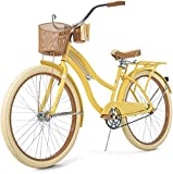 Yellow Bicycle Single Speed Cruiser 26 Inch Female Bike City Road Journey Seat Pad Riding Wheel Front Fork Suspension Biker Sports Exercise Cardio Tool Light Adult Teenager Trip Exercise Dual Pedal