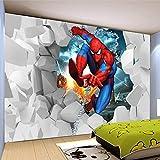 Papier Peint Panoramique 3D Briser Le Mur Spiderman Intissé Tapisserie Murales Panoramique 3D Cafe Tv Fond Peinture Murale Papier Peint 200X140Cm