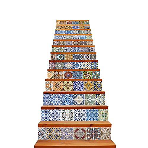 TUOKING 13 Strips Removable Stair Decals, Peel and Stick Vinyl...