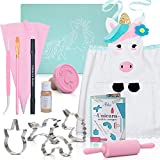 Kids Cookie Baking Set for Girls Incl. Unicorn Apron, Cookie Cutters, Complete Kit With 14 Cooking Pieces | Unicorn Gifts For Girls