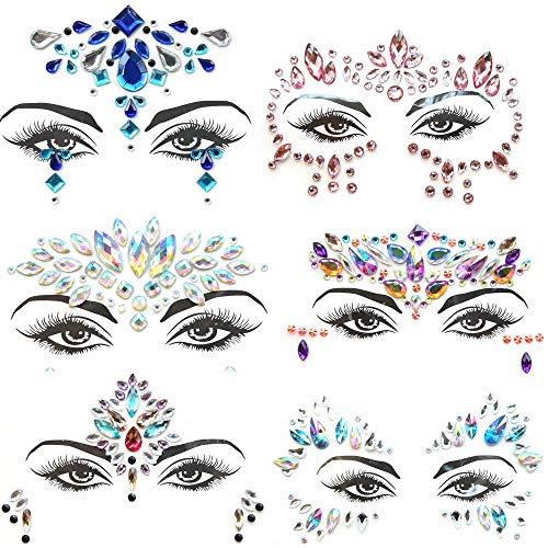 Pegatinas Cara Joyas 6 piezas Gemas de la Cara Face Cristale