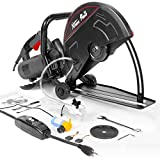 XtremepowerUS 2800W Electric 14' Cutter Circular Saw Wet/Dry Concrete Saw Cutter Guide Roller w/Water Line Attachment (No-Blade)