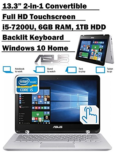 ASUS Q304UA 13.3-inch 2-in-1 Touchscreen Full HD Laptop PC, 7th Intel Core i5-7200U up to 3.1GHz, 6GB RAM, 1TB HDD, Silver