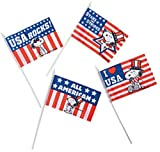Peanuts Worldwide Snoopy Fourth of July Patriotic Cloth Flags, Set of 4
