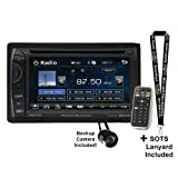 Power Acoustik PH-620 6.2' Double-DIN in-Dash DVD with Bullet Style Backup Camera and Sots Lanyard Bundle