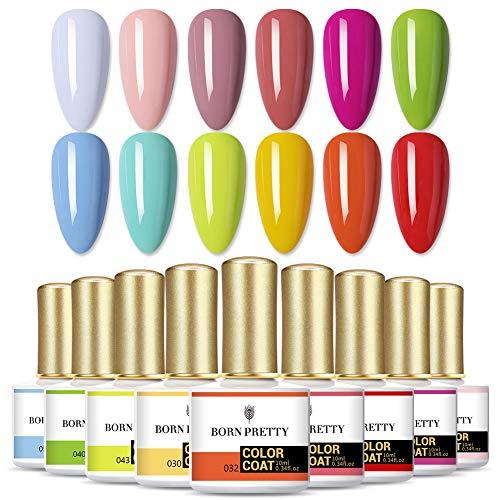 BORN PRETTY UV Gel Polish Spring Bright Colors Soak Off Nail Art Gel Vanish Pure Classical Color Nail Art Design 10ml 12 Bottles Set