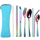Reusable Travel utensils cutlery set with Case, OHFUN Stainless Steel Portable Flatware Set Silverware Set for Camping Picnic Office or School Lunch,Dishwasher Safe (Blue)