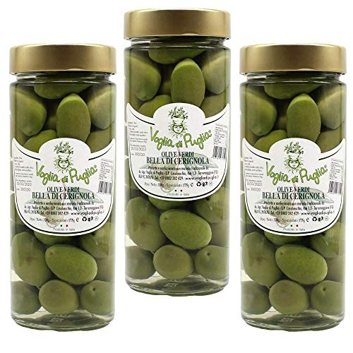 Olive Verdi Bella Di Cerignola, Oliva da Tavola 3 pezzi da 330 grammi