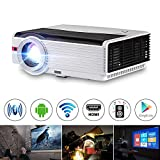 WiFi Projector 1080P HD Supported with 5000 Lux, Wireless Bluetooth Projector for Home Cinema, Compatible with Mobile Phone, Laptop, PC, TV Stick, PS4, DVD, HDMI, UB, VGA, AV for Outdoor Movies
