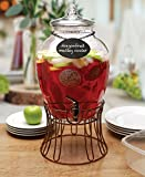 Circleware 69121 Glass Beverage Dispenser with Stand and Chalkboard Necklace, Fun Party Entertainment Home Kitchen Glassware Drink Water Pitcher for Juice, Beer & Cold Drinks, 2.7 gal, Empire Black