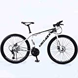 Jaceyon Mountain Bike 26-inch Outdoor Sports, Aluminum Frame, 21-Speed Rear Derailleur, Suitable for Men and Women Cycling Enthusiasts -US Stock (White-Black)