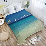 AngelDOU Sofa Blanket air Conditioner Blanket W55 xL72 Exotic Tropic Beach in Philippines Island Horizon Summer Paradise Concept for Car Bedroom Home Decorative.