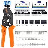 Glarks 486Pcs Wire Crimper Plier with Connector Set, SN-28B Ratchet Crimping Tool with 485Pcs 2.54mm 1 2 3 4 5 6 7 Pin Housing Connector Male Female Pin Header Crimp Connector for AWG28-18 Dupont Pins