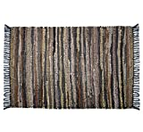 COTTON CRAFT Liverpool Handwoven Reversible Leather Chindi Area Rug, 2' X 3', Tan Multicolor