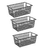 Slideep Farmhouse Metal Wire Basket, Fridge Freezer Storage Organizer Bins with Handles for Kitchen Cabinets, Pantry, Closets, Bedrooms, Bathrooms, Black 3 Pack