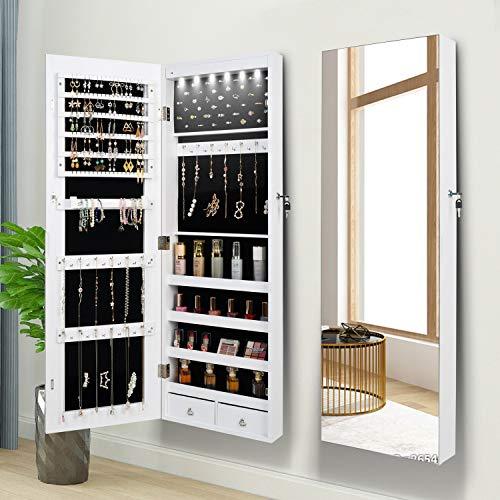 Armadietto portagioie con specchio, organizer per gioielli, armadietto per gioielli, da appendere, specchio da parete, 6 luci a LED (bianco)