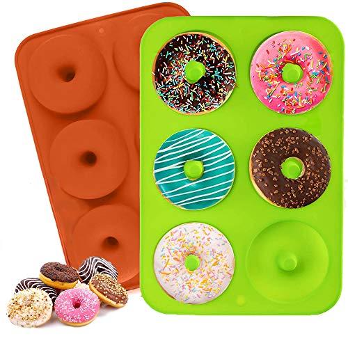 ZouWei Molde de rosquilla, Molde de Silicona Galletas, Moldes de Silicona Donut, Galletas, Bagels, Bandeja para Hornear buñuelos, sin BPA, 6 cavidades - 2 Piezas