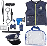 Police Uniform for Kids - 13-Piece Police Officer Costume Role Play Kit with Hat, Vest, Handcuffs, Bag, and Other Accessories for Pretend Play, Halloween Dress Up, School Play for Boys and Girls