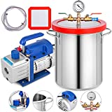Bestauto Vacuum Pump 2 Gallon Vacuum Chamber Silicone Expoxy Degassing with 4CFM 1/3HP Single Stage Vacuum Pump