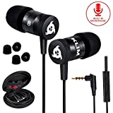 KLIM Fusion Earbuds with Mic Audio - Long-Lasting Wired Ear Buds + 5 Years Warranty - Innovative: in-Ear with Memory Foam Earphones with Microphone - 3.5mm Jack - New Earphone 2020 Version - Black