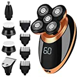 Electric Shaver for Men, 5 in 1 Waterproof Rotary Razor, Wet or Dry Shaver for Bald Head, Beard Grooming, Rechargeable LED Grooming Kit with Hair Clipper, Nose Hair Trimmer, Facial Cleaning Brush