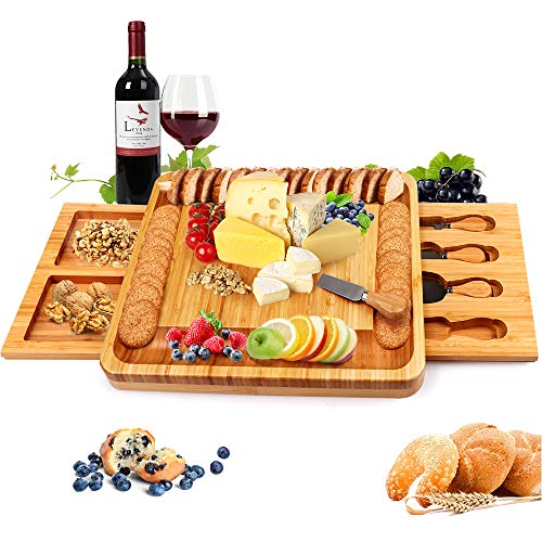 Bamboo Cheese Board and Knife Set, Cheese Servers with Hidden Drawer, Charcuterie Platter and Cheese Serving Tray for Wine, Crackers, Brie and Meat. Perfect for Christmas, Wedding &Housewarming Gifts