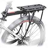 HOMEE Rear Bike Rack, 110 lbs / 50KGS Bike Cargo Racks Frame Aluminum Alloy Universal Adjustable Cycling Equipment Stand Footstock Bicycle Luggage Carrier with Tools and Reflector for 26'-29' Frames