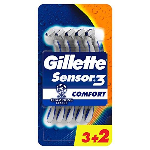 Gillette Sensor3 Comfort Lamette da Uomo Usa e Getta, Confezione da 3+2