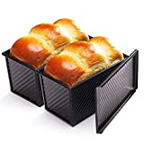 CHEFMADE Loaf Pan 2 Pcs, Non-Stick Bread Pan Carbon Steel Toast Pan with Cover for Baking Bread - Black