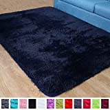 PAGISOFE Navy Fluffy Shag Area Rugs for Bedroom 3x5, Soft Fuzzy Shaggy Rugs for Girls Bedroom Kids Room Carpet Furry Throw Dorm Rug