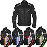Motorcycle Jacket For Men Textile Motorbike Dualsport Enduro Motocross Racing Biker Riding CE Armored Waterproof All-Weather (Black, 5XL)
