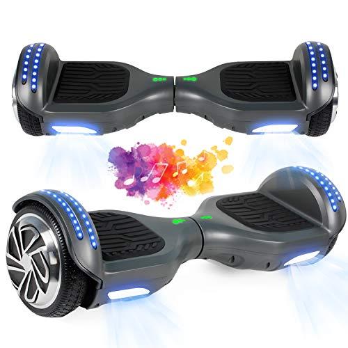 SISGAD Hoverboard, Hoverboard Enfant Self Balancing Scooters 6,5 Pouces Hoverboard Hover Scooter Board avec Musique Bluetooth, lumières LED et Moteur Puissant pour Enfants et Adolescents
