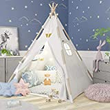 TazzToys Kids Teepee Tent for Kids with Fairy Lights +Waterproof Base...